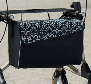 Tasche mit Magnetverschluss, Tasche für Rollator, schwarz-grau