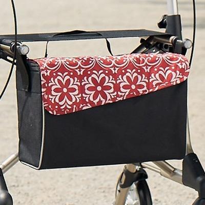 Tasche mit Magnetverschluss, Tasche für Rollator, rot-weiß